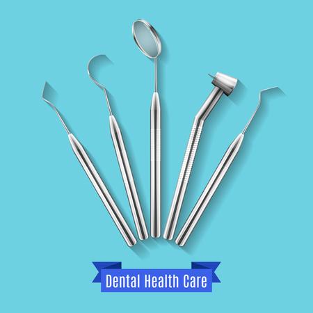 Dental health care instruments vector illustration. Emblem or banner with medicine accessory sterile Illustration