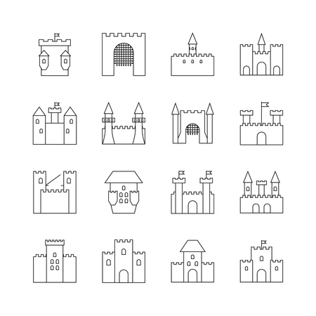 chateau: Historical ancient castle linear icons. Citadel and chateau fortress outline vector icons. Castle with tower, building castle kingdom medieval illustration Illustration
