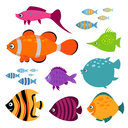 Cute fish set. Smiling swimming aquarium fishes vector illustration. Exotic color fish for aquarium illustration