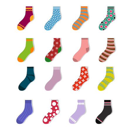 Colorful cute child socks icons. Sock set isolated on white background. Cotton socks with colored pattenr. Vector illustration