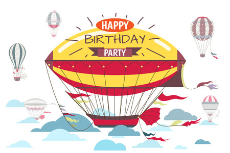 event party: Birthday greetings card with hot air balloon vector illustration. Happy birthday party invitation, banner or poster for birthday event illustration Illustration