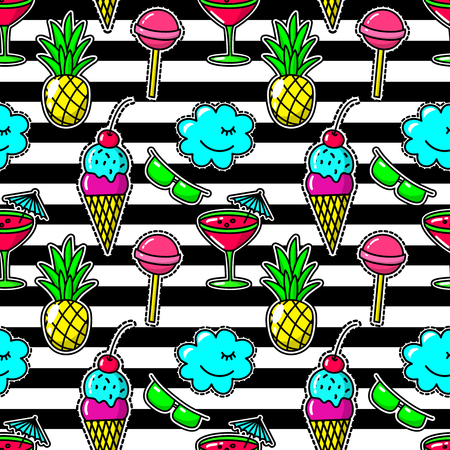 stitching: Stripe fabric fashion seamless pattern with embroidery eighties party patches like cocktail glass and pineapple, sunglasses and lollipop. Stitching textile ice cream and candy. Vector illustration