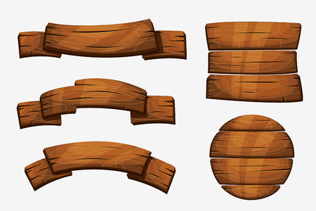 Cartoon wooden plank signs. Wood banner  elements isolated on white background. Wooden board round form illustration Vettoriali