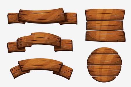 Kreskówka znaki drewniane deski. Drewniane elementy transparent na białym tle. Drewniana deska okrągła ilustracja