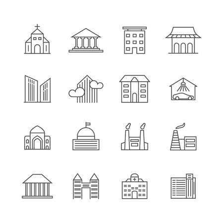 house illustration: House and building  line icons. Real estate outline symbols. Home, building and outline apartment illustration