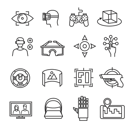 Virtual reality thin line icons. Virtual reality equipment, 3D headset glasses, virtual simulation sensor. Device vr game illustration