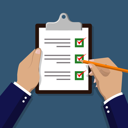 hand holding paper: Checklist with hand. Hand check items on paper illustration. Checklist document holding hand