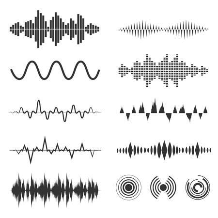 Set di segnali d'onda. segnali analogici e forme di onde sonore digitali. Ampia illustrazione audio dell'onda Vettoriali