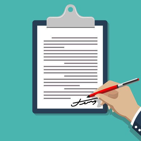 business deal: Hand signing document. Man writing on paper contract documents  illustration. Write signature agreement, business deal signing