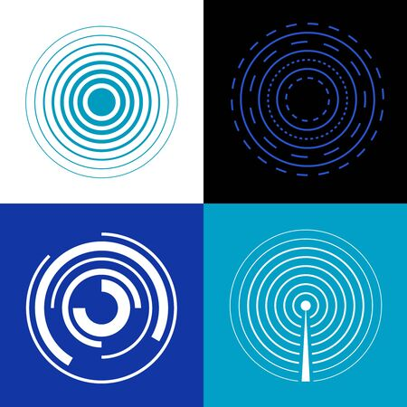 generate: Blue circle signal waves. Generate sound or radar  radio signals. Concentric audio signal, epicenter of music signal illustration Illustration