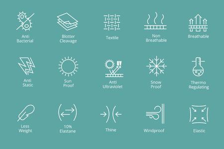 Ikony właściwości odzieży i tkanin, takie jak wodoodporność i antybakteryjne, ochrona przed śniegiem i słońcem. Wygodna ikona antybakteryjna, Ilustracje wektorowe