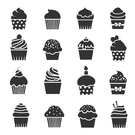 Cupcake icons. Dessert baking black and white signs. Bakery food silhouette, birthday cake muffin. Illustration