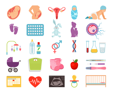 Conceiving child and pregnancy, prenatal childbearing and birth, motherhood and child flat  icons. Birth baby and newborn illustration