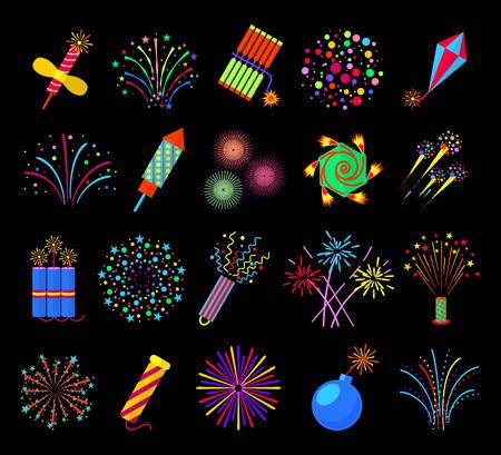 Pyrotechnics and fireworks vector illustration, petards and fire crackers signs. Firecracker and bomb with fuse in fire Ilustração