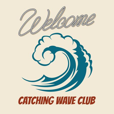 vintage wave: Surfing club emblem with killer wave. Vector vintage surf poster with sea waves splash. Catching wave club placard illustration Illustration