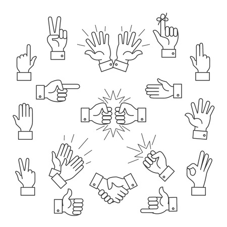 symbol icon: Cartoon outline signs of one hand and two hands. Lined clapping and applauding vector hands icons. Gesturing hands finger illustration