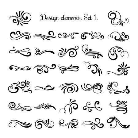 Swirly line curl patterns isolated on white background. Vector flourish vintage embellishments for greeting cards. Collection of filigree frame decoration illustration Vettoriali