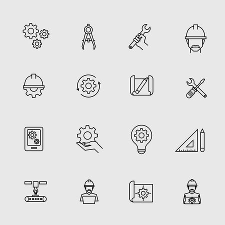 equipment work: Engineering simple icons. Machine engineers and architect engineer work tools vector signs. Engineering equipment illustration