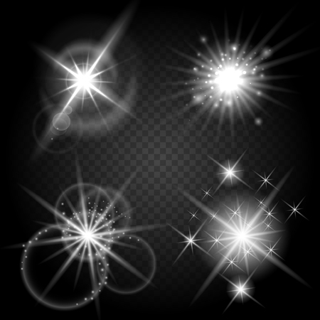 glowing star: Vector isolated shiny sun set with rays. Glowing stars and stellar objects on transparent background. Sparkle star flare bright collection illustration