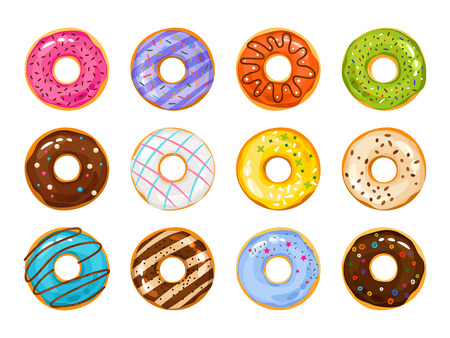 white sugar: Sweets donuts sugar glazed. Vector fries pastry doughnut icons with holes isolated on white background. Dessert donut round illustration