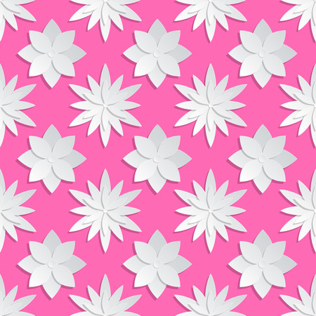 pink flower background: Paper cut flowers background. Origami vector floral pattern. Flower origami on pink backdrop, design of paper origami illustration