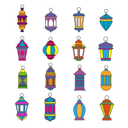 lamp vector: Old arabic light lamp set. Muslim Ramadan lanterns vector illustration. Kerosene or oil lantern coored design