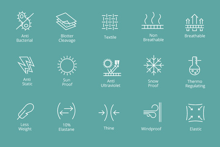 Garments and fabrics properties icons like waterproofing and antibacterial, snow and sun protection. Comfortable antibacterial icon, vector illustration