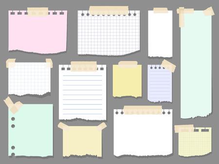 Trozos de papel notas de página. páginas bloc de notas en blanco con la ilustración de piezas de cinta adhesiva del vector. Papel pegado a la pared con cinta adhesiva