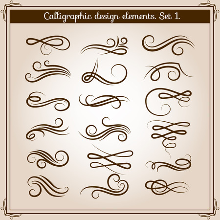 caligraphy: Flourish ornament embellishments set. Vector calligraphic flourishes elements in retro style. Ilustration of filigree caligraphy tattoo or embellishment line frame Illustration
