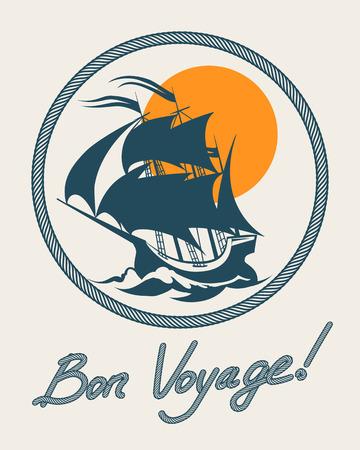 marine ship: Sailing boat retro poster. Vector vintage bon voyage sign with sail ship. Marine trip or travel to ocean illustration