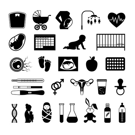 Pregnancy black icons. Pregnant health test and birth baby, unborn child, womb and embryo vector signs. Newborn and childbearing illustration
