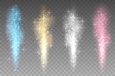 Fajerwerki zapala przezroczyste tło. Jasny tryskające w górę iskry promienie ilustracji wektorowych. Kolor gwiazdek fontanna światła xmas partii