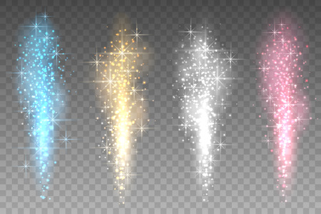 Fireworks lights transparent background. Bright spurting up sparks rays vector illustration. Colour stars fountain light to xmas party