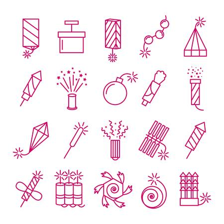 Vector pyrotechnic icons set. Celebration festival dynamite fireworks with sparks and explosions signs. Petard and rocket linear style illustration Illustration