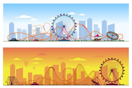 Concepto de luna park. El parque de atracciones divertido del entretenimiento coloreó el ejemplo del vector del fondo. Carrusel y rueda ferris, ilustración de montaña rusa en el fondo de la ciudad