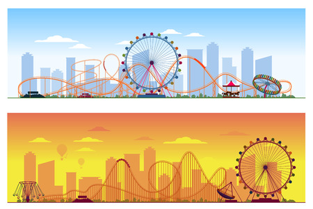 Luna park concept. Amusing entertainment amusement park colored background vector illustration. Carousel and wheel ferris, rollercoaster illustration on city background