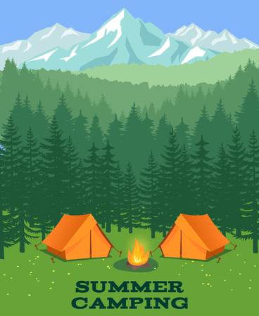 forest wood: Forest camping vector illustration. Tourist tent on glade. Adventure and rest in summer wood