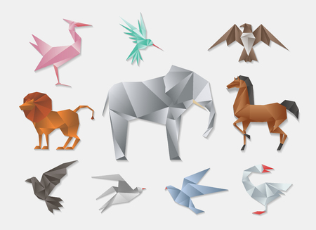 to polygons: animales de origami. 3d vector conjunto de papel japonés animales. El elefante y el caballo, león y la paloma. Decoración de diseño plano geométrico ejemplo animal Vectores