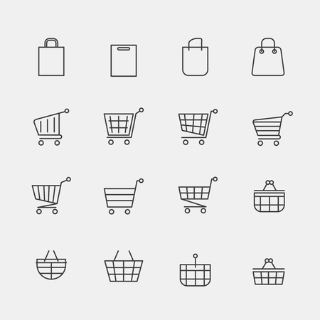 web store: Vector store bags signs or lined shopping basket modern web icons. Cart basket fo retail shop, shopping of linear trolley illustration Illustration