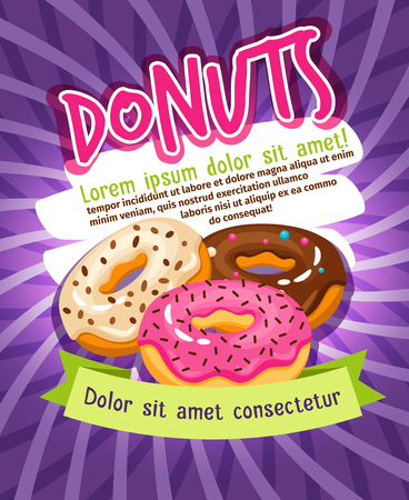 glazed: Chocolate and sugar glazed donut bakery poster. Donuts food advertising vector illustration. Tasty glazed donuts snack