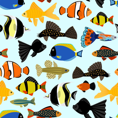 underwater fishes: Fishes seamless pattern. Cute cartoon aquarium fish animals background for kids vector illustration print. Tropical exotic fishes underwater diving