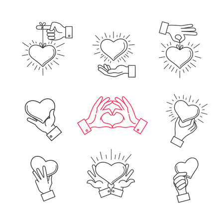 love shape: Lined hand love signs. Vector hands making heart shape. Symbol of love, heart in hands illustration