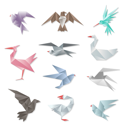 Origami bird set. Vector 3d abstract paper flying birds with wings isolated on white background. Geometric design graphic animals illustration