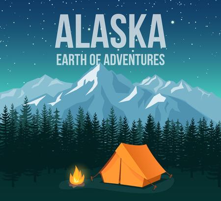 national: Cartel de la vendimia del viaje de la fauna del parque nacional de Alaska con las montañas y los pinos vector la ilustración. Verde f noche bosque, turismo y cartel de viaje Vectores