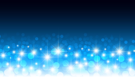 light circular: Round glowing confetti blue bokeh vector background. Circular optical lens blurred lights festive pattern. Light effect with shiny glitter sparkle illustration