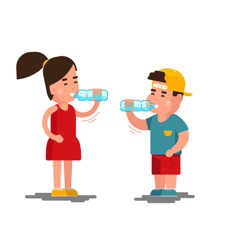 kids drinking water. cartoon little boy and small girl drinks