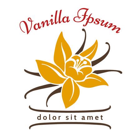 Vanilla dessert flavor. Vanillas aromatic flower and bean silhouette vector icon isolated on white background.