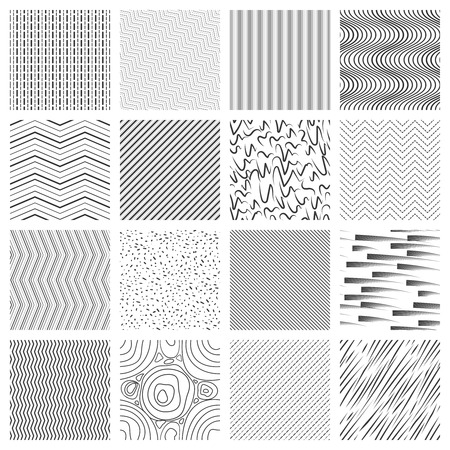ustawić Cienka linia wzór. Crossing i pochyłe, faliste linie i pasiaste wzory. Ilustracja geometryczne mozaiki bezszwowe tło wektor