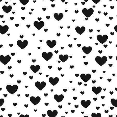 love wallpaper: Heart black and white vector print background for website and love product wrap. Hearted seamless pattern. Monochrome wallpaper love decoration illustration Illustration