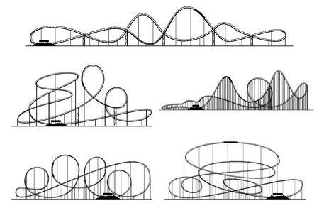 Roller coaster siluetas vector. rodillos de montaña rusa del parque de atracciones o aislados. Montaña rusa en parque de atracciones ejemplo monocromático